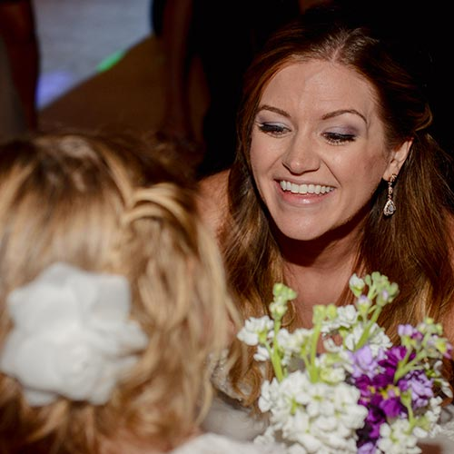 bride smile at Amy's Courtyard in Palisade Colorado
