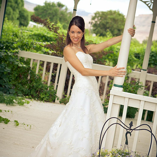 bride to be at Amy's Courtyard in Palisade Colorado