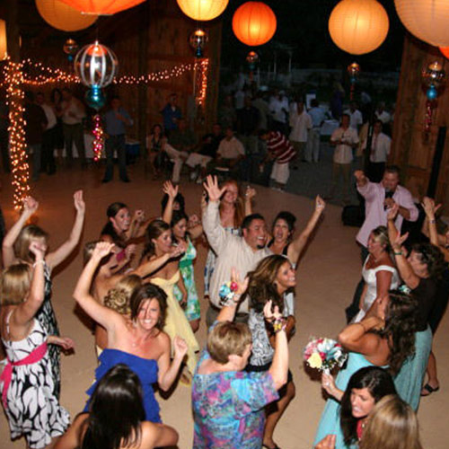 dancing at wedding reception at Amy's Courtyard in Palisade Colorado