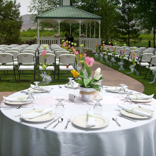 wedding ceremony setup at Amy's Courtyard in Palisade Colorado